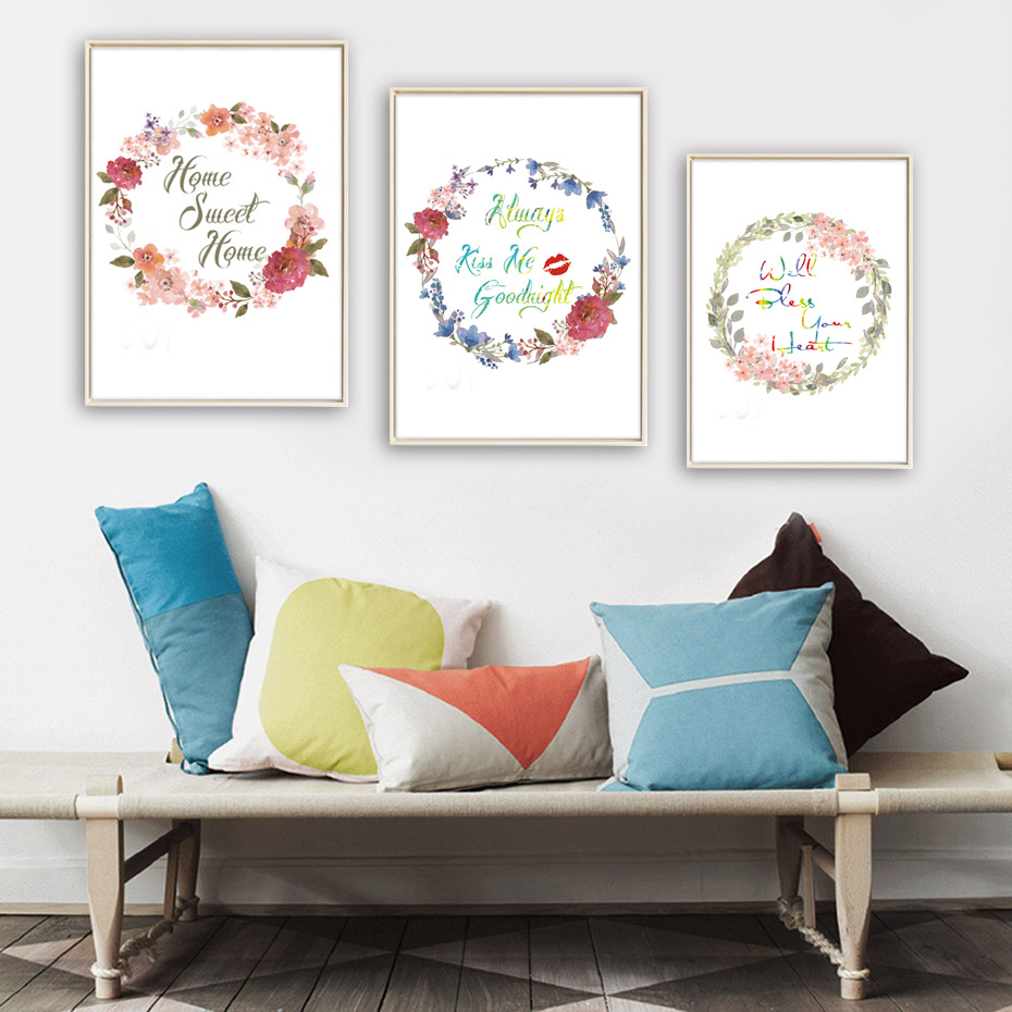 Nordic beautiful flowers home sweet home quote canvas art for Wall poster for living room