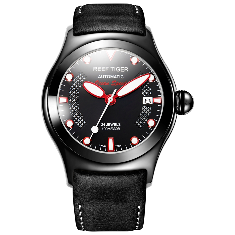 Reef Tiger/RT Mens Casual Sport Watches With Date Dark Calfskin Leather Strap Luminous Automatic Wrist Watches RGA704