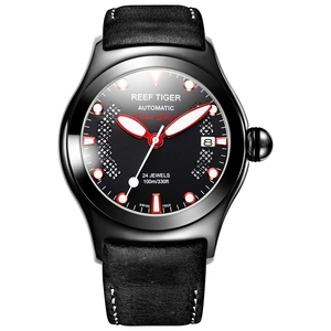 Image 1 - Reef Tiger/RT Mens Casual Sport Watches with Date Dark Calfskin Leather Strap Luminous Automatic Wrist Watches RGA704