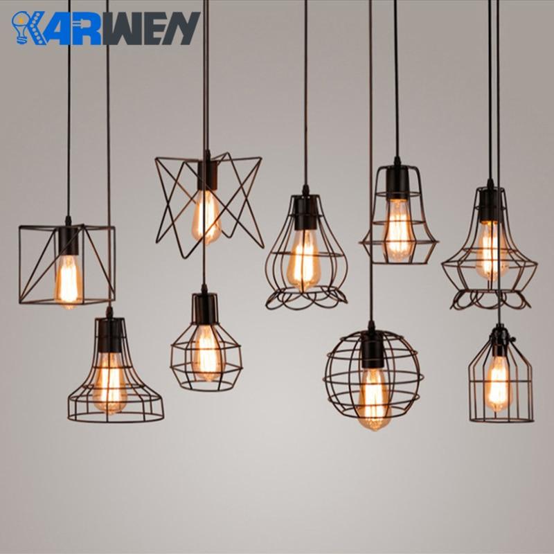 KARWEN Modern Iron Cage Vintage Led Lamp Bulb Loft Pyramid LED Bulb Edison Chandelier Retro Concise Metal Hanging Lamp E27 LED