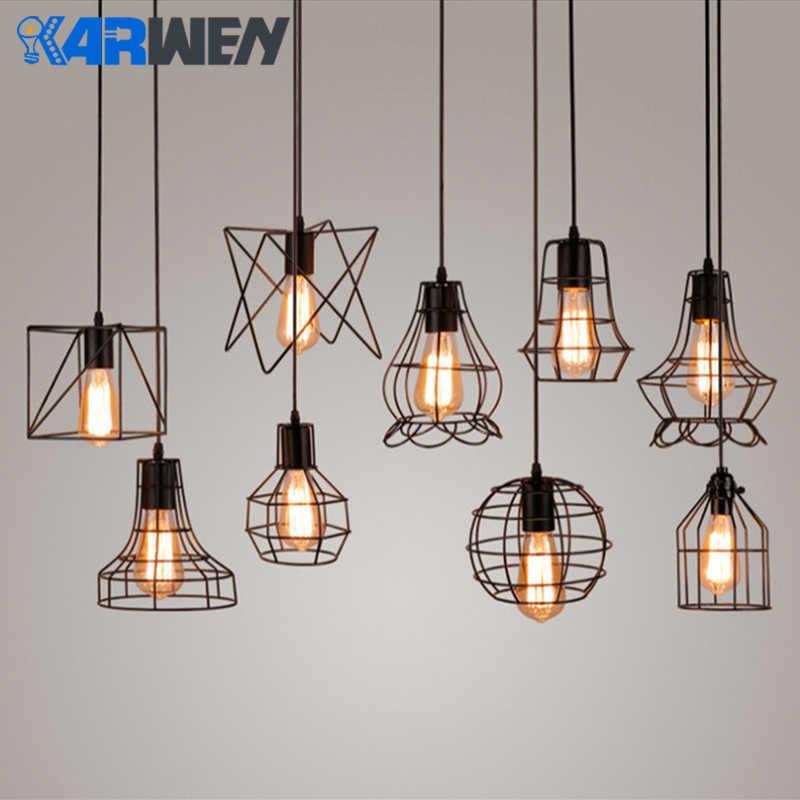KARWEN moderna jaula de hierro Vintage bombilla Led para lámpara loft pirámide LED Bombilla Edison Retro concisa lámpara colgante de Metal E27 LED