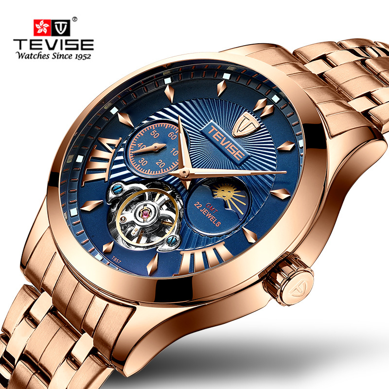 New Tourbillon Tevise Top Brand Men Mechanical Watch Automatic Fashion Luxury Stainless Steel Male Clock Relogio