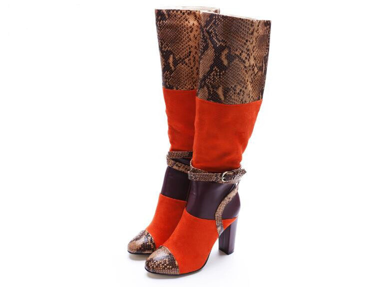 Women fashion boots round toe super high thick heels knee-high buckle decoration ankle strap women snakeskin designer boots