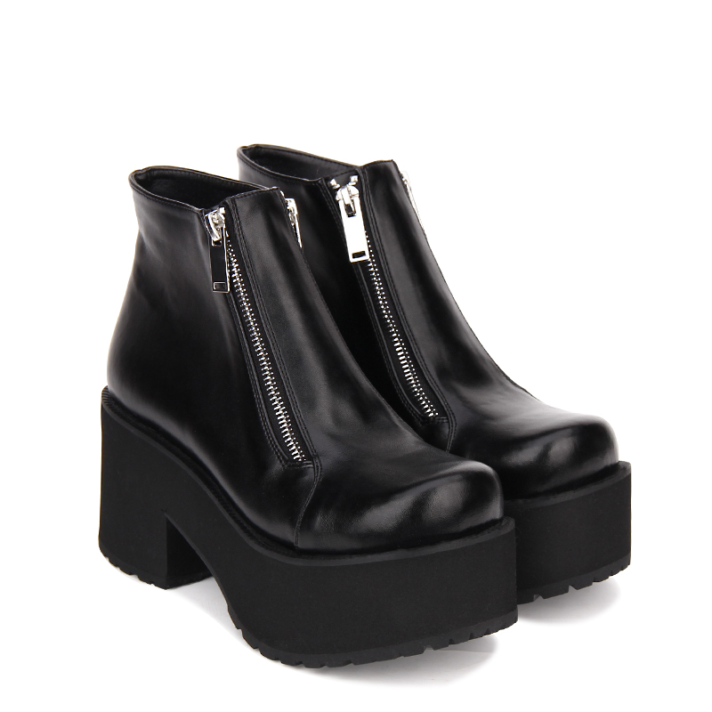 5433dcb810d US $60.0 |Angelic imprint New Arrival PU Leather Round Toe Punk style  Platform Booties Ankle Boots Lolita Shoes Size 35 46 -in Ankle Boots from  Shoes ...
