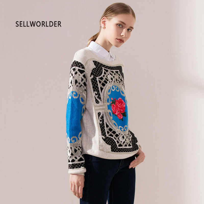 2018 sellworlder 여성 캐주얼 스웨터 프린트 o 넥 풀오버 긴팔 캐주얼 여성 의류 탑스 판초