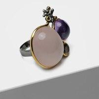 Винтаж 925 посеребренный 22 к золото инкрустированные полудрагоценный камень розовый SPAR Аметист hoelite кольца