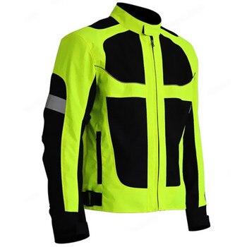 Men's Summer Motorcycle Jacket Motocross Racing Reflective Safety Jacket Sportswear Protective Gear Fluorescent Green Jacket