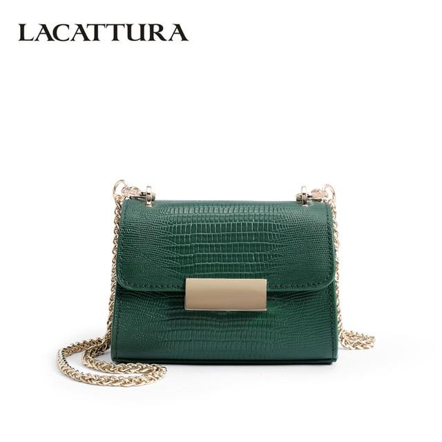 abc3682146 LACATTURA Crossbody for Women Leather Handbags Luxury Designer Chain Messenger  Bags Ladies Small Shoulder Bag Alligator