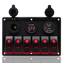 цена на 6 Gang Control Switch 12-24V ABS Waterproof RV Car Trailer Boat Marine Red LED Rocker Switch Panel Circuit Breaker Dual USB Port