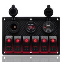 6 Gang Control Switch 12 24V ABS Waterproof RV Car Trailer Boat Marine Red LED Rocker Switch Panel Circuit Breaker Dual USB Port