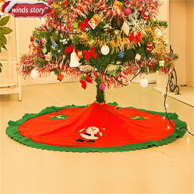 1 pieces 90cm christmas tree skirt base cover decor blanket cloth paste santa claus pattern xmas - Cheap Christmas Tree Skirts