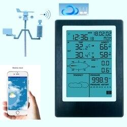 WiFi stacja pogodowa termometr LCD higrometr opady deszczu ciśnienie kierunek prędkości wiatru aplikacja bezprzewodowa prognoza pogody Alarm danych