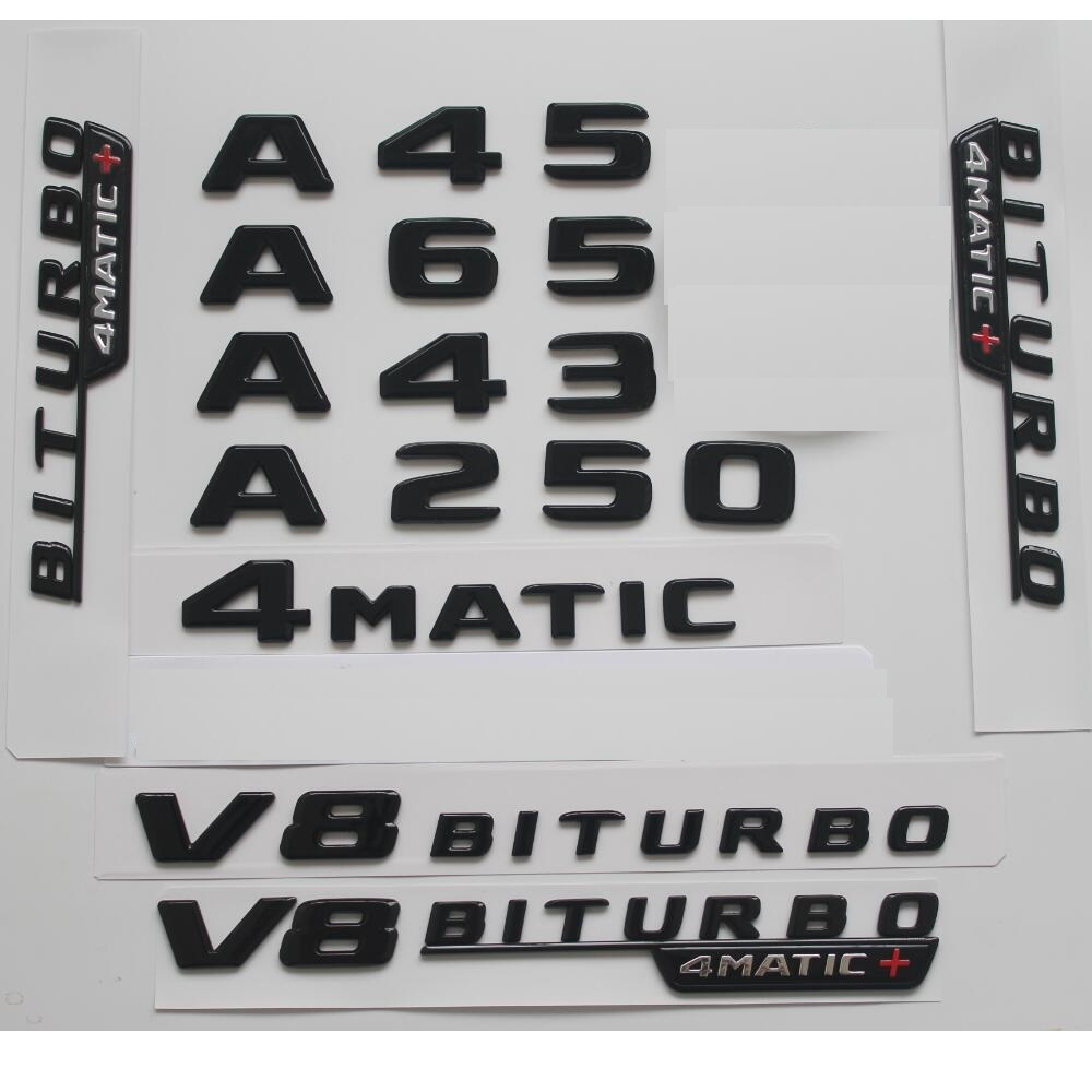 2018 Flat A45 AMG Gloss Black Trunk Emblem Badge Sticker for Mercedes Benz