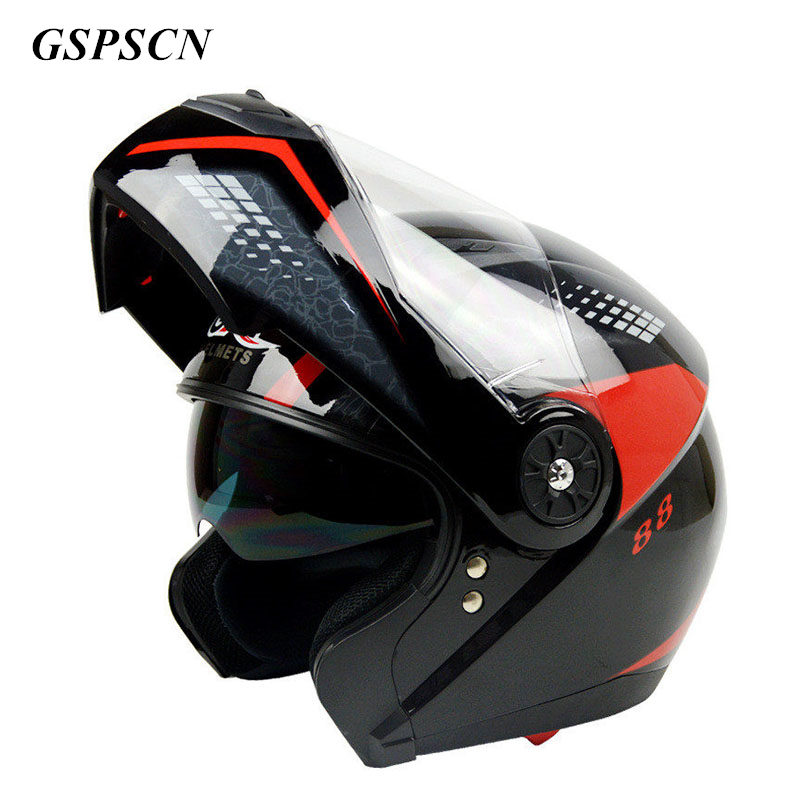цены 2017 New arrival Flip Up motorcycle helmet Double Lens Full Face Helmet With Inner Lens Moto Cascos Motociclistas Capacete