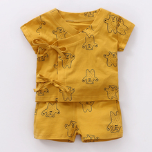 YiErYing 2Pcs Baby Clothes Sets Summer Cotton Short Sleeve Cute Cartoon Sets+Pant Outfits suits Newborns