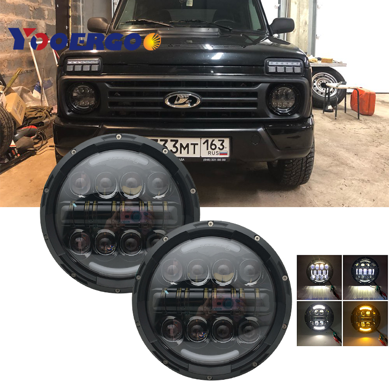 7 inch LED Headlights with Halo Ring Amber Turn Signal For <font><b>Lada</b></font> Niva 4x4 Samurai 7 Led Halo Headlight For VAZ <font><b>2101</b></font> image