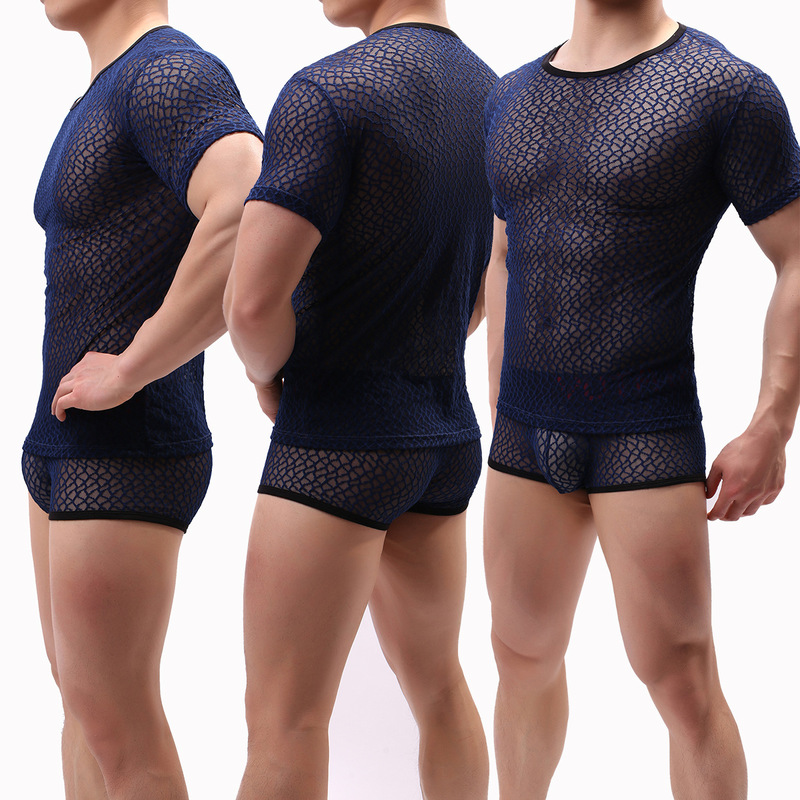 Mens Undershirts Sexy Mesh Short Sleeve Gay See Through Solid Tops Tees Male Bottoming Shirt Men Summer Breathable Underwear