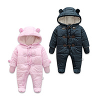 Keep Warm Thick Baby Rompers Winter Clothes Newborn Baby Boy Girl Romper Jumpsuit Hooded Kid Outerwear