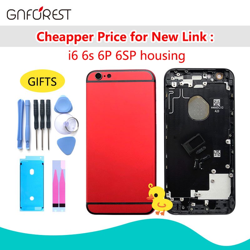 Battery-Cover Chassis Back-Housing Side-Button iPhone 6 6s-Plus for Black Red Metal