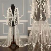 Long Sleeve Wedding Jackets Capes Lace Applique Bolero Custom Made Bridal Shawls Cloak