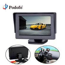 "Podofo 4.3"" TFT LCD Car Monitor for Rear View Camera Auto Parking Backup Reverse Monitor with 2 video input for Rearview Camera"