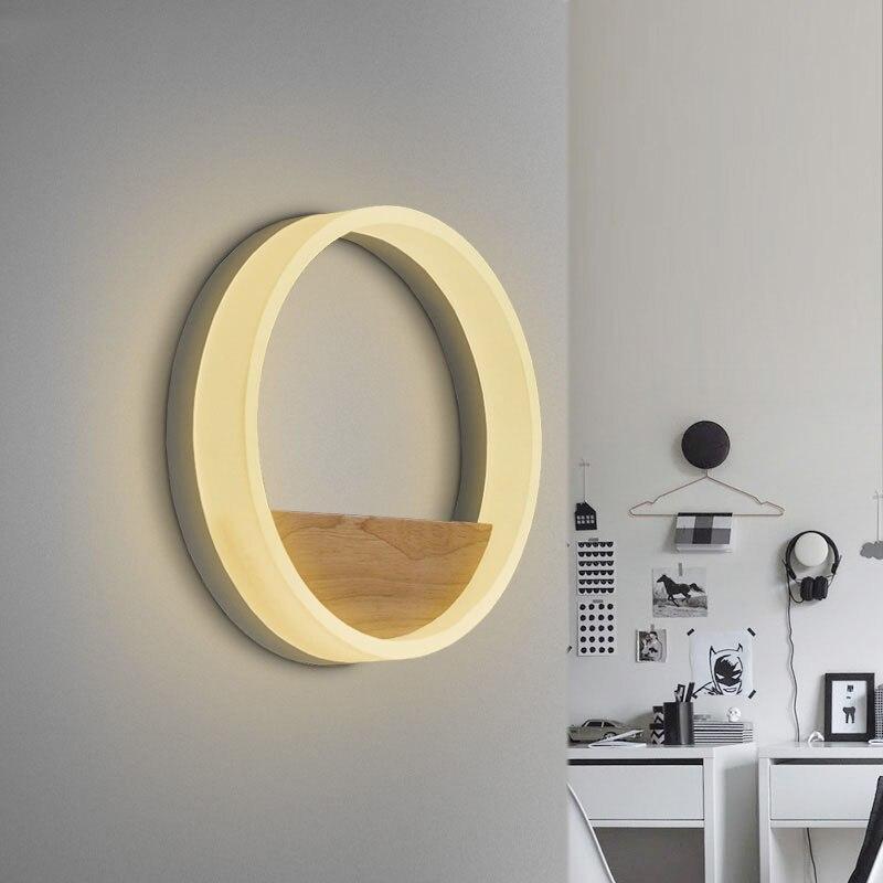 مصباح جداري خشبي لتزيين فني مستدير بدائرة LED 20/30/40 سنتيمتر. شمعدان غرفة المعيشة الإبداعية الحد الأدنى أضواء السرير-في مصابيح الجدار الداخلي LED من مصابيح وإضاءات على title=