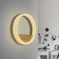Round Modern Art Decoration Wood Wall lamp LED Circle 20/30/40cm. Creative living room sconce Minimalist bedside lights