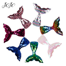JOJO BOWS 5pcs Reversible Sequin Patches Mermaid Tail Accessories For Needlework DIY Hair Bows Material Party Decoration Suplies