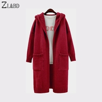 ZL&BD cardigan largo mujer Women Autumn Winter Thick Hooded Long Cardigan Coat Female Casual Knitted Sweater Ladies Jumper ZA732
