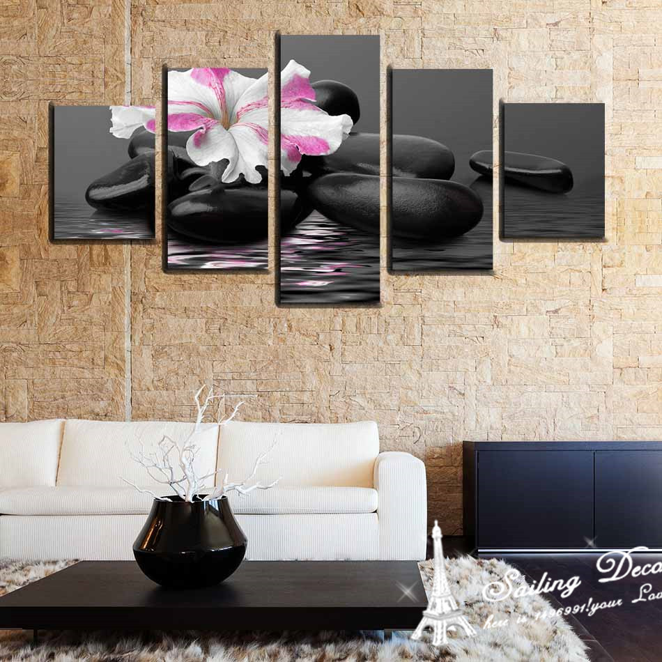 Wall Art Pictures Home Decoration Canvas Prints Only One Petal Flower With  Pebble Just Like In Water Modern Arts HD Painting