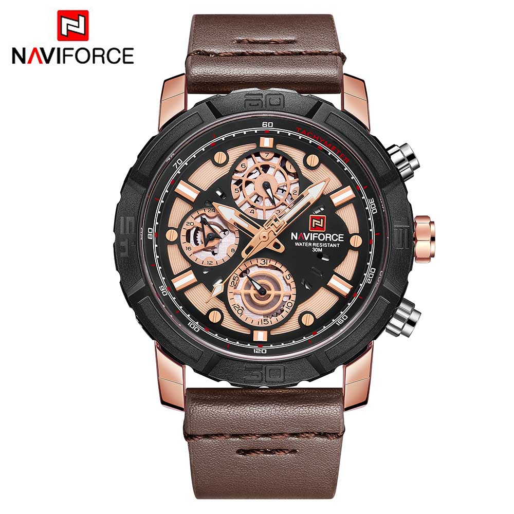 NAVIFORCE Fashion Men Watches Leather Strap Men's Quartz 24 Hour Clock Analog Watch Sport Military Wrist Watch Relogio Masculino