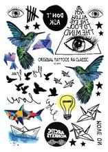 LC 879 Geometric Temporary Body Tattoos Hummingbird Electric Bulb Paper Boat Eye Temporary Body Tattoo Unisex