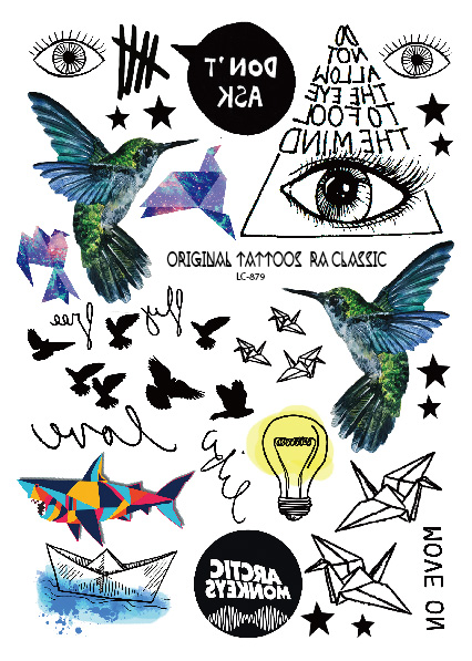 LC 879 Geometric Temporary font b Body b font Tattoos Hummingbird Electric Bulb Paper Boat Eye