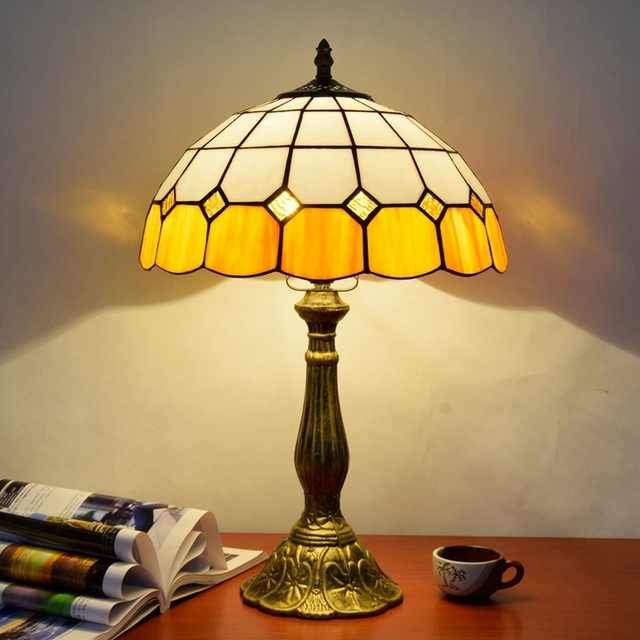Eusolis 12 Inch Stained Glass Table Lamp Vintage Deco Maison Lampara