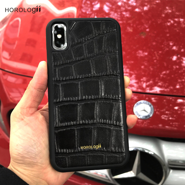 new styles 32900 f78e3 US $16.85 47% OFF|CUSTOM NAME AVAILABLE Horologii Luxury Leather Phone Case  For iPhone X 8 7 Plus Case Protective Cover genuine leather dropship-in ...
