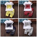 Nueva embroma la ropa del verano 2 unids trajes de ropa deportiva de los bebés de manga corta T-shirt + Pants star print niños de la ropa