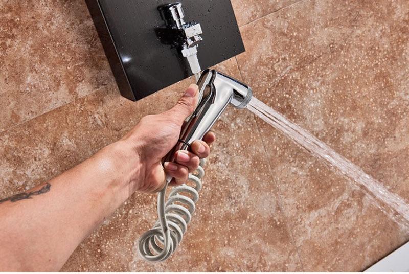 HTB14v9sXsnrK1RjSspkq6yuvXXak LED Light Shower Faucet Bathroom Waterfall Rain Black Shower Panel In Wall Shower System with Spa Massage Sprayer and Bidet Tap