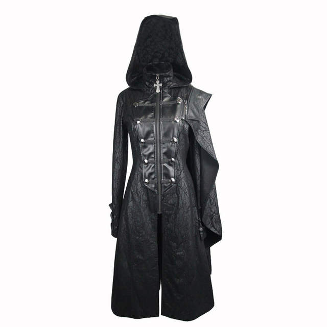 b5a127fa6a1070 Devil Fashion Gothic Hooded Long Coats for Women Punk Faux Leather Handsome  Jackets with Detachable Shawls Black Overcoats-in Leather & Suede from  Women's ...