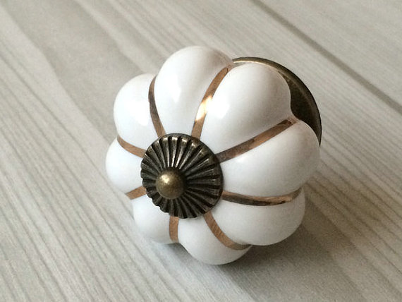 White Cabinet Knobs Pumpkin Knobs Kitchen Dresser Knob