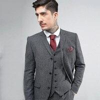 Серый костюм твид Свадебные Для мужчин костюмы Slim Fit смокинг жениха индивидуальный заказ best человек Блейзер, куртка комплект из 3 предметов