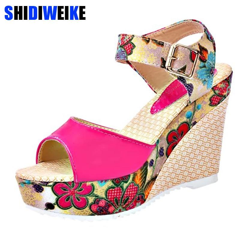 2019 frauen Sandalen Sommer Plattform Keile Casual Schuhe Frau Floral Super High Heels Offene spitze Hausschuhe Alias Zapatos Mujer