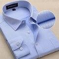 2017 Twill Хлопок Чистый Цвет Белый Бизнес Формальные Рубашки Платья Моды для мужчин С Длинным Рукавом Социальной Повседневная Рубашка Плюс Размер 5XL 6XL