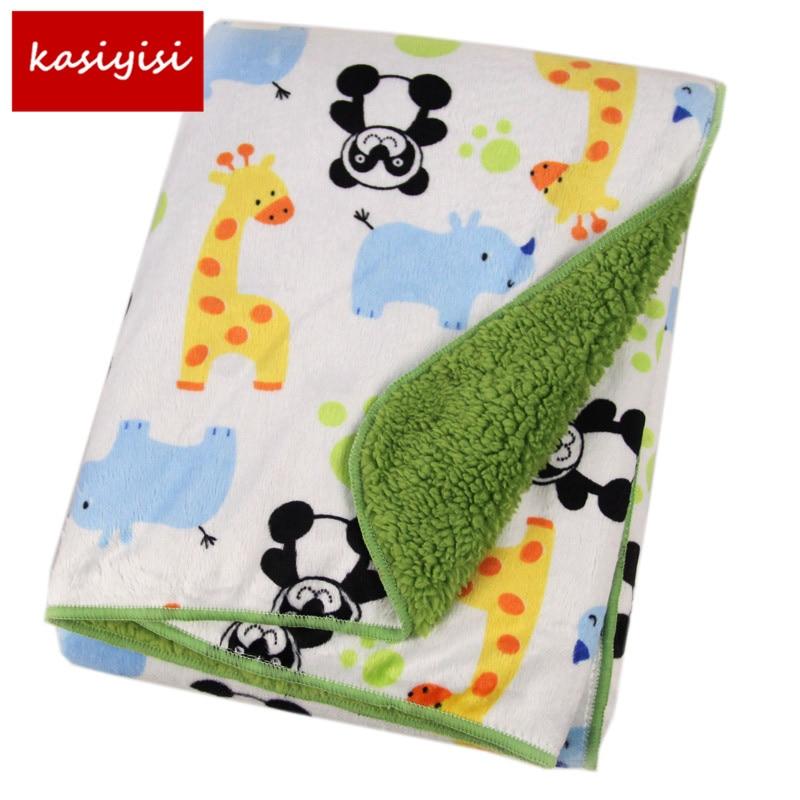 1PC Newborn Blanket Short <font><b>Plush</b></font> Baby Soft Blankets Super Soft Sleep Cartoon Blanket Infant 102*76cm TRQ0001