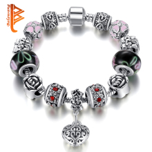 2016 Vintage Women Bracelet 925 Silver Charm Bracelet Fit Original Bracelet Bangle With Murano Glass Beads