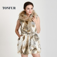 New Ladies Rabbit Fur Vest Vests Real Natural Rabbit Vest Waistcoat Fur With Hood Designer Free Shipping FP326