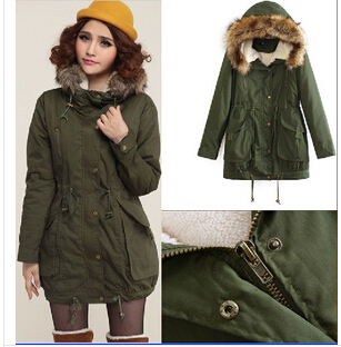 Plus Size Fashion Pleated Thick Women Winter Jacket Army Green Fur Collar Hat Cotton-padded Parka Wool Liner J10 kingma for xiaomi yi 2 ii 4k 1400mah rechargeable battery 2 pack and dual usb charger for xiaomi yi 4k action camera ii 2