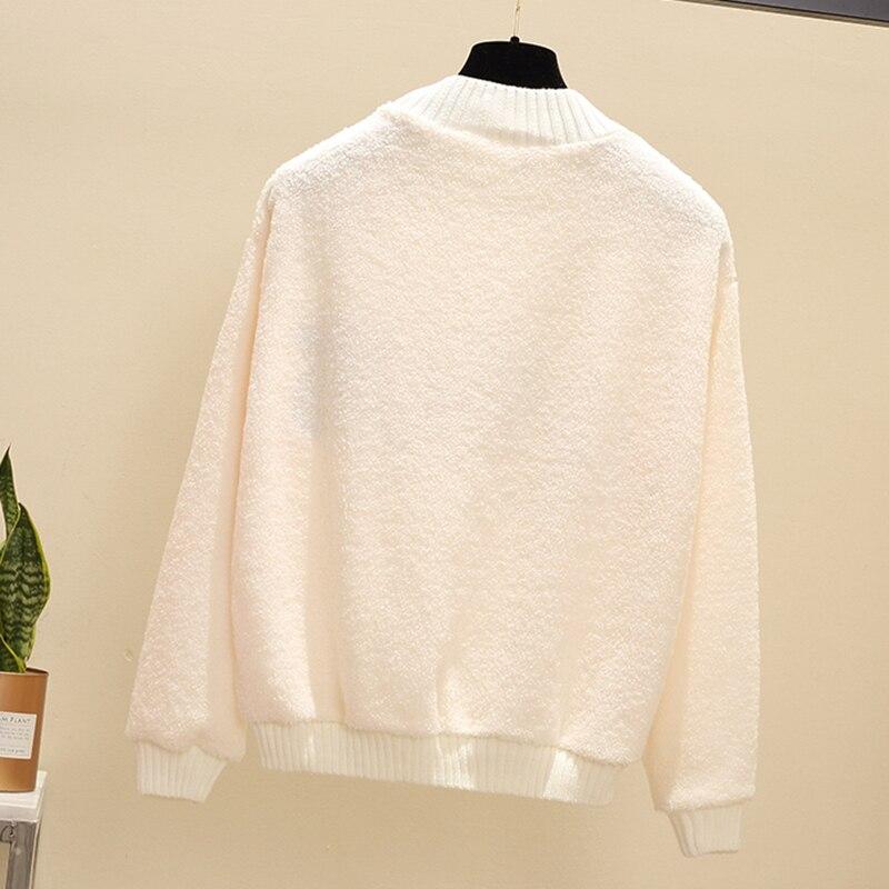 New Rabbit Pattern Keep Warm Sweatshirt Soft Plush Fashion Women Loose Tops O-neck Pullovers Wild Slim Bottom Sweatshirt NO667