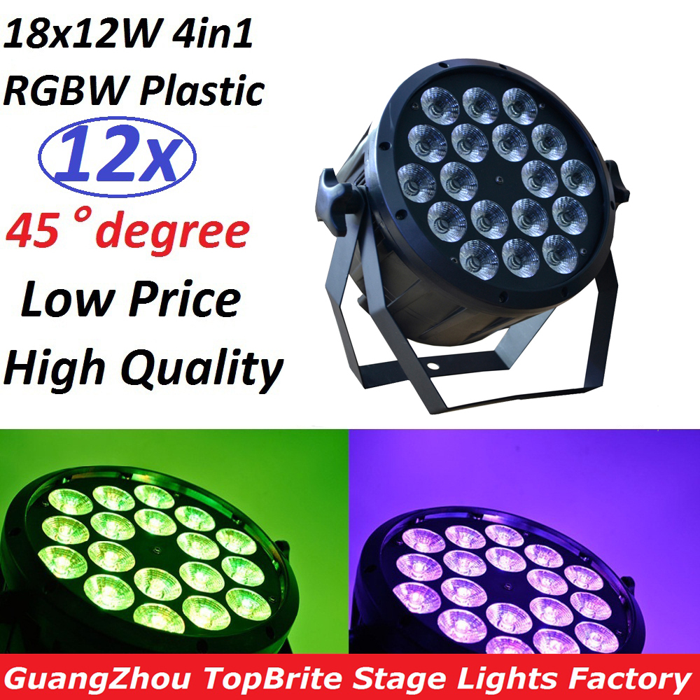 12xLot 2017 LED Flat Par 18x12W RGBW DMX Stage Lights Business Lights High Power Light with Professional for Party KTV Disco DJ 6 pcs lot led par 18x12w rgbw light dmx stage lights business lights professional flat par can for party ktv disco dj ligthing