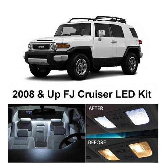 Free Shipping 4Pcs/Lot car-styling Xenon White Package Kit LED Interior Lights For Toyota FJ Cruiser 2008 & Up