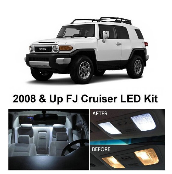 Free Shipping 4Pcs/Lot car-styling Xenon White Package Kit LED Interior Lights For Toyota FJ Cruiser 2008 & Up